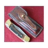 Кожаные ножны для складного ножа BUCK110 вертикальный подвес цвет антик бордо MS10-1
