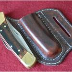Кожаные ножны для складного ножа BUCK110 вертикальный подвес MS11-1 цвет антик бордо