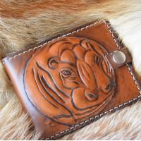 Нэцке стиль кошелек кожаный ручной работы