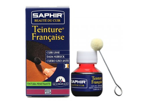 Краска для кожи растительного дубления проникающая, спиртовая Saphir Teinture francaice арт 0812 50 мл красный