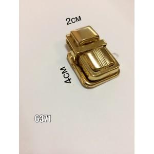Замок для сумки, портфеля арт.6371(3511) штампованный супф. золото С