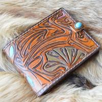 Арт-Нуво стиль кошелек кожаный ручной работы Грифон