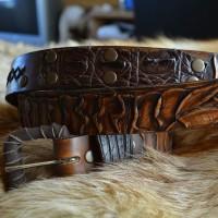 Фентези классик стиль кожаный ремень ручной работы Змий искуситель