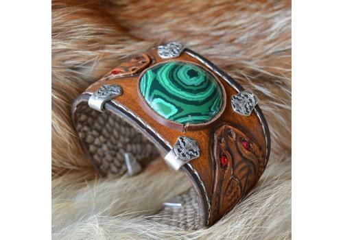 Фентези стиль браслет кожаный ручной работы Хозяйка Медной Горы