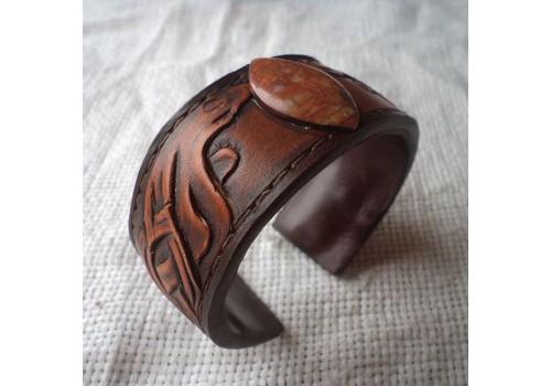 Джент стиль кожаный браслет ручной работы мужской на медной основе. Яшма
