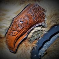 """Ножны (чехол) для складного ножа """"Властитель каньонов"""", кожа РД, ручная работа, на заказ арт. MSA63"""