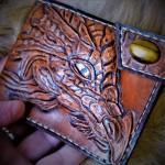 Кошелек кожаный ручной работы Самоцветный Дракон. Тигровый глаз