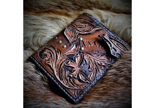 Барокко классик стиль портмоне кожаный ручной работы с вставкой под автодокументы