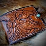 Кошелек кожаный ручной работы Самоцветный Дракон. Бирюза