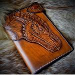 Фентези стиль портмоне ручной работы Самоцветный Дракон. Сердолик