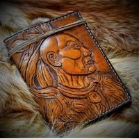 Портмоне кожаное ручной работы Великий Змей, с вставкой под автодокументы
