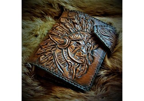 Байк классик стиль кожаный портмоне ручной работы с вставкой под автодокументы
